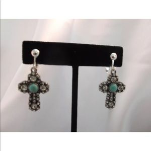 💖Silver, Dangling Turquoise Stone Clip On Earring